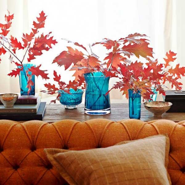 leafy decor in oak living room