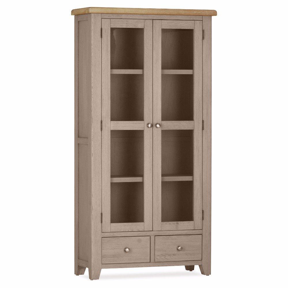 Great Deals on Oak Scotia Double Display Cabinet | Furniture Villa Online