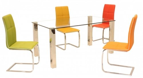 100% Oak Valita PU Chairs Chrome