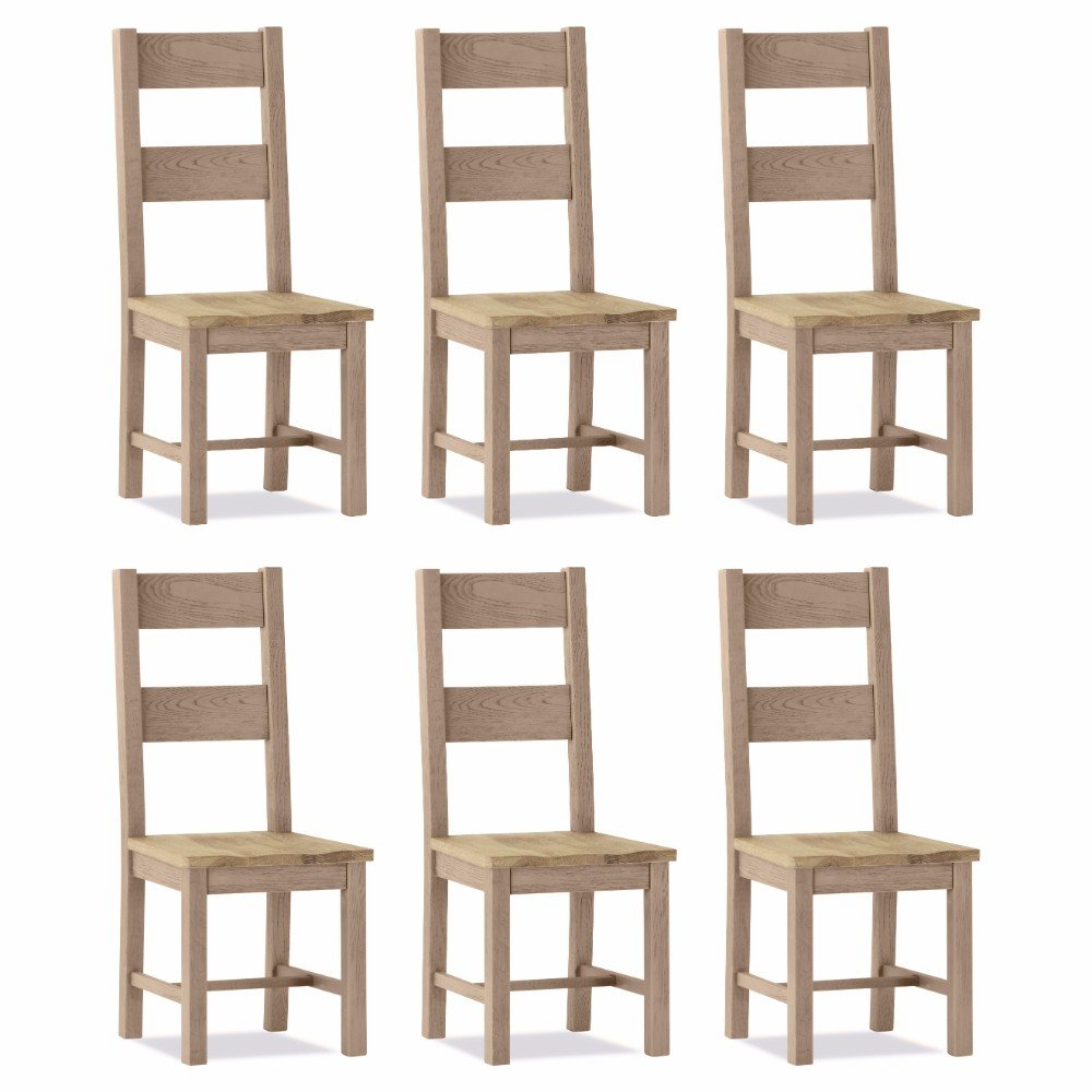 100% Oak Scotia Dining Chair Wooden Seat (Set of 6