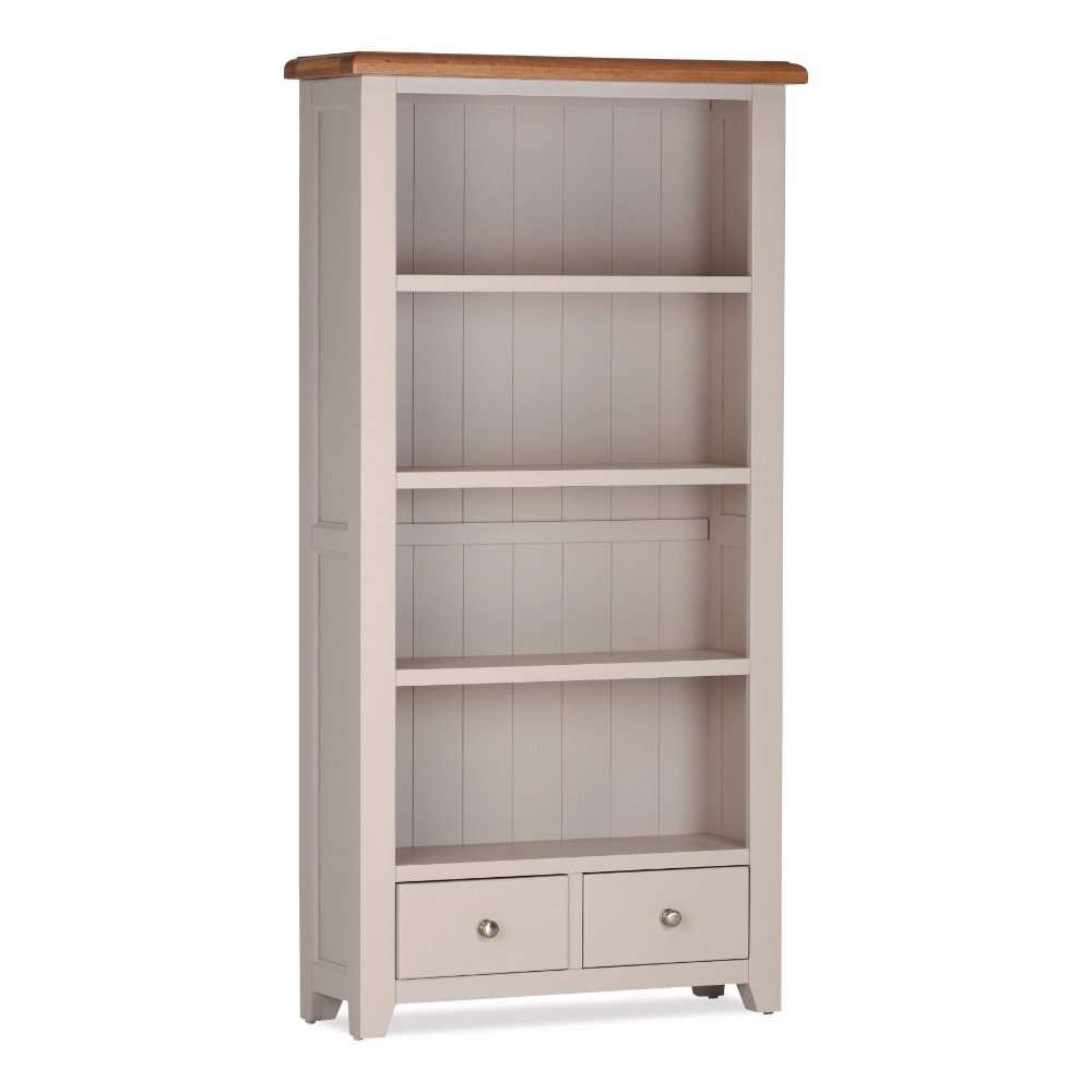 100% Solid Cheap Oak Vinton High Bookcase with 2 Drawers
