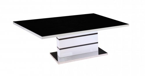 Get FREE Shipping On Exclusive Aldridge High Gloss Coffee Table White with Black Glass Top