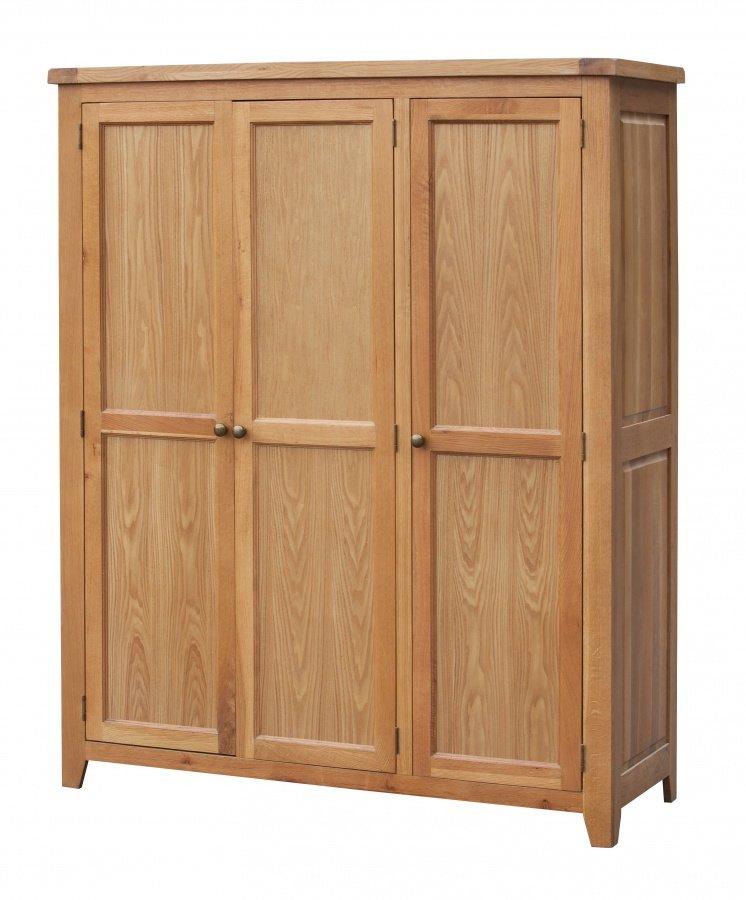 Stunning Bedroom Acorn Solid Oak Wardrobe 3 Door Full Hanging