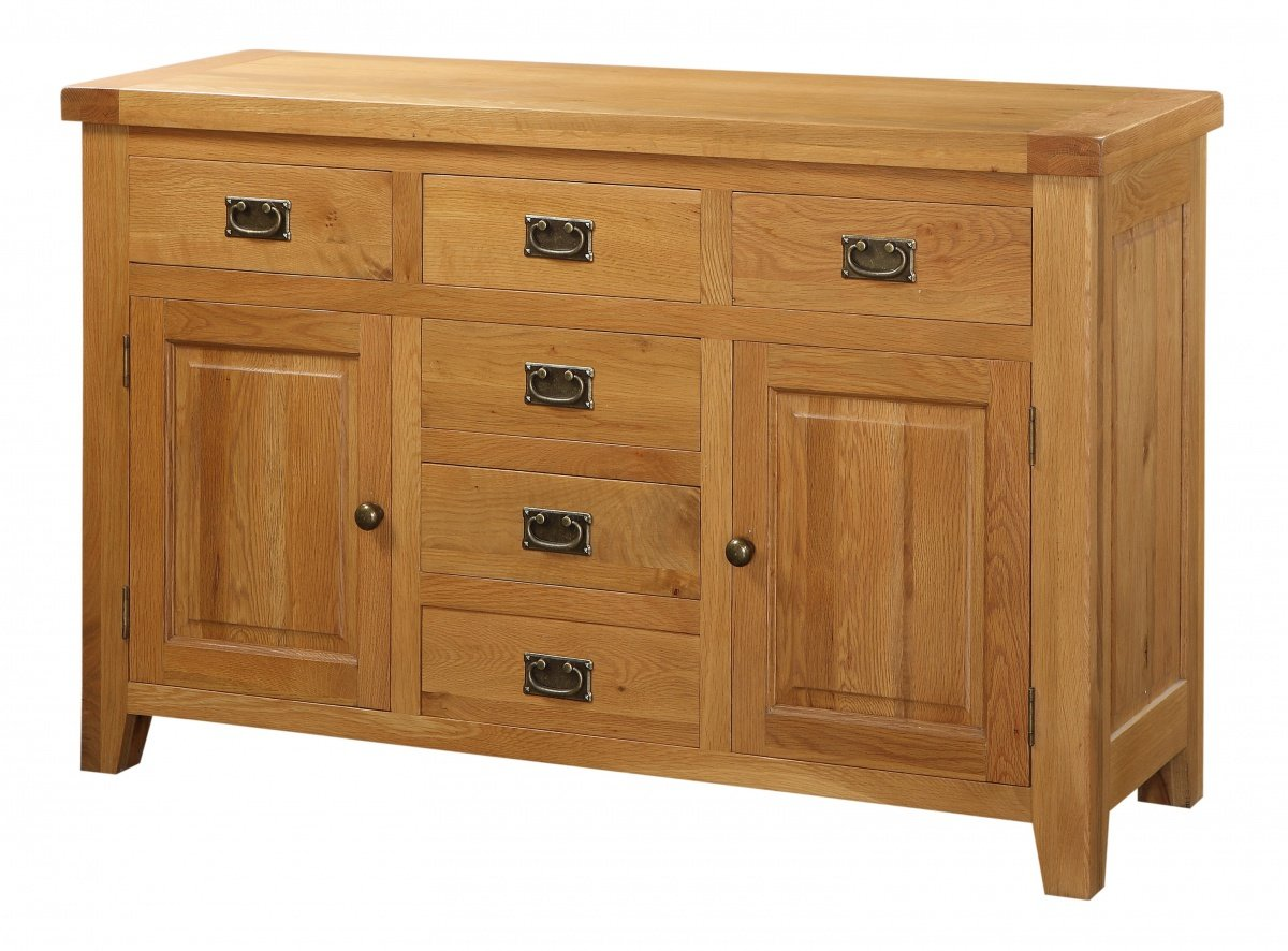 Discounted Acorn Solid Oak Sideboard Large 2 Doors & 6 Drawers   Oak Furniture Online