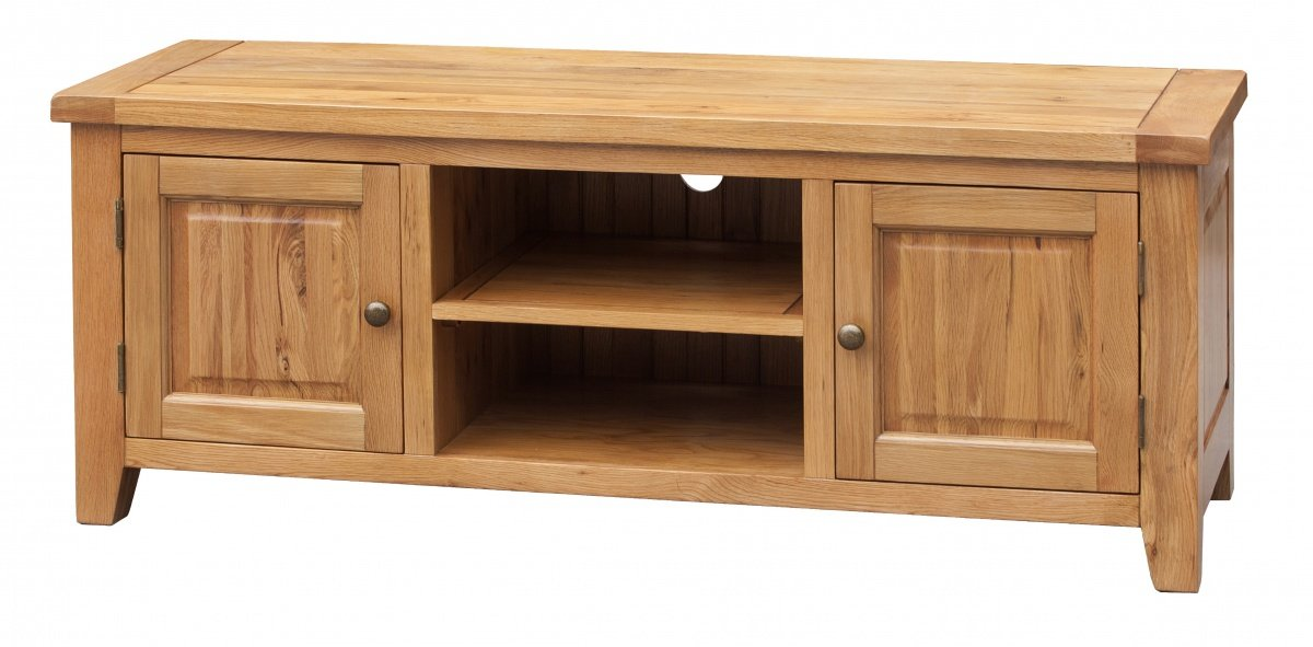 Cheap Oak Acorn Solid Oak TV Unit Straight | Oak Furniture Online