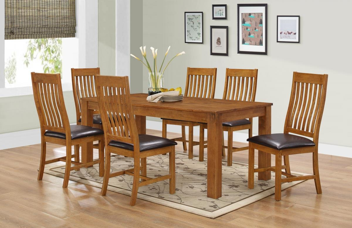 100% Oak Adderley Dining Set with 6 Chairs Walnut