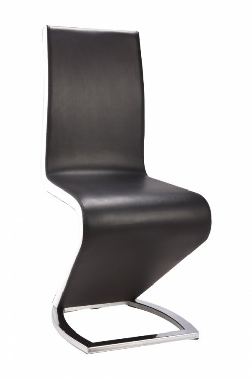 100% Oak Aldridge Dining Chair Black with White PU Sides