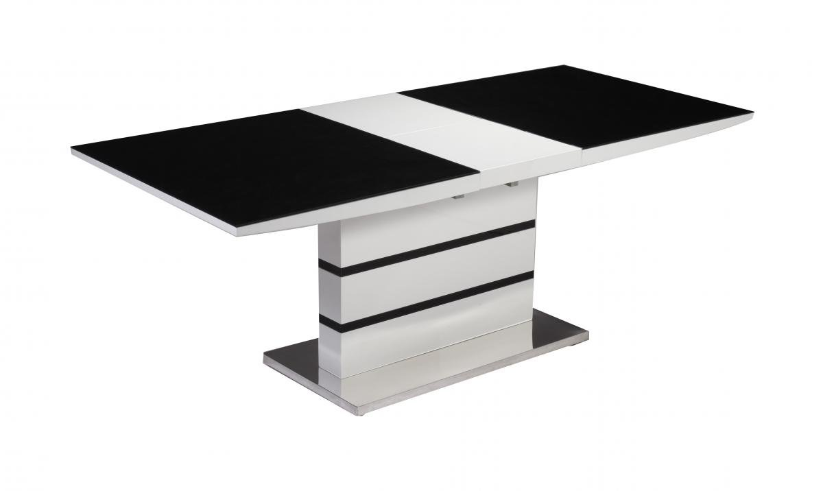 100% Oak Aldridge High Gloss Dining Table White with Black Glass Top