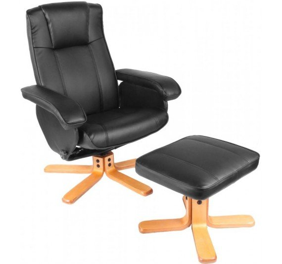 Great Discount on Althorpe Recliner with Footstool PU Black | Oak Furniture Online