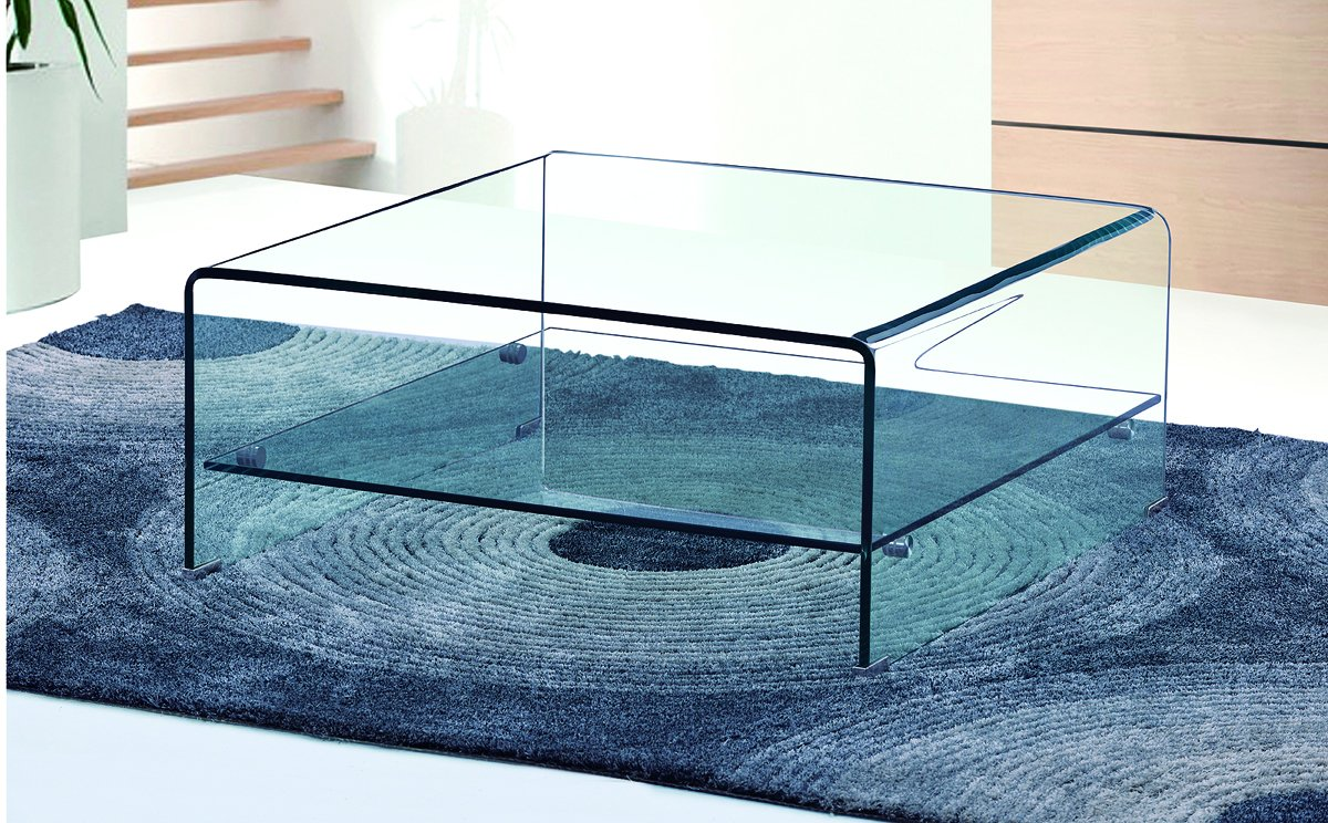 Get FREE Shipping On Exclusive Angola Clear Square Coffee Table with Shelf