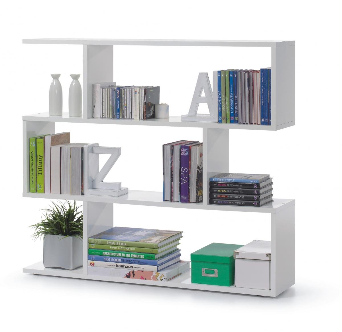Stylish Bedroom Arctic Bookcase Wide High Shine White
