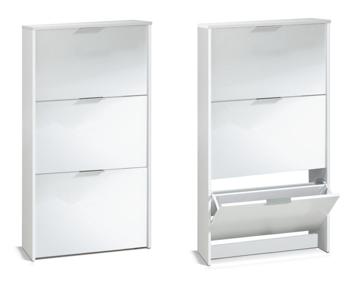 Discounted Arctic Shoe Cabinet 3 Doors High Shine White | Oak Furniture Online