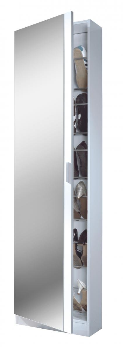 Discounted Arctic Shoe Cabinet Mirrored Door & 6 Shelve High Shine White | Oak Furniture Online