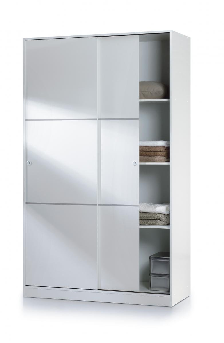 Stunning Bedroom Arctic Sliding Wardrobe 4 Foot with Shelves High Shine White