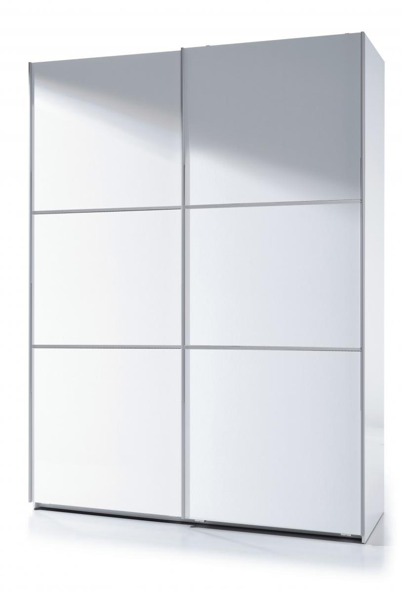 Stunning Bedroom Arctic Sliding Wardrobe 5 Foot Full Hanging High Shine White