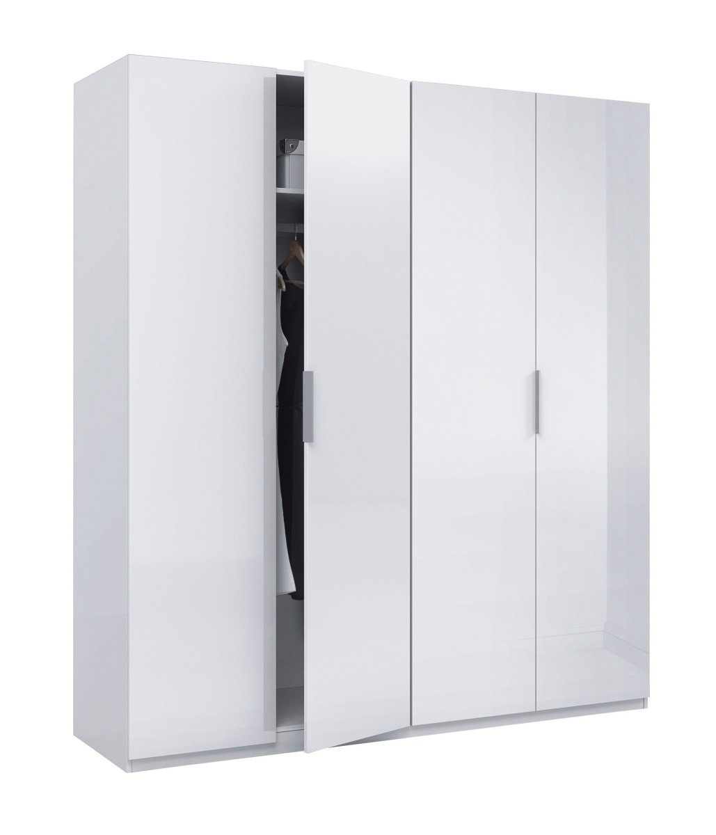 Stunning Bedroom Arctic Wardrobe 4 Door High Shine White