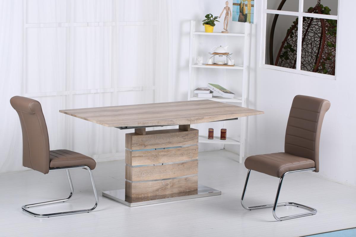100% Oak Astra PU Chairs Chrome & Brown