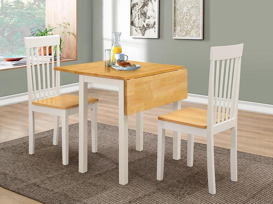 100% Oak Atlas (Amber) White Dropleaf Dining Set with 2 Chairs