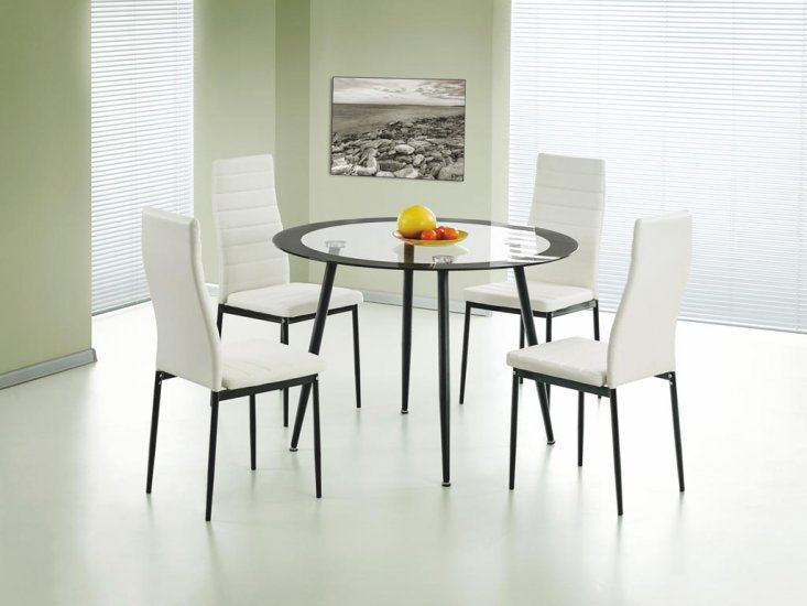 100% Oak Acodia Dining Set Clear Glass & Black
