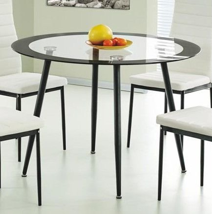 100% Oak Acodia Dining Table Clear Glass & Black