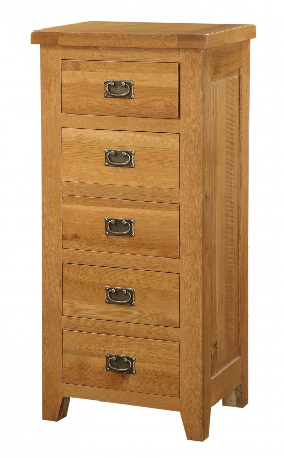 Cheap Acorn Solid Oak Chest 5 Drawer Narrow for your Bedroom