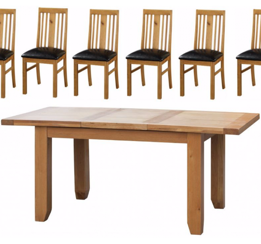 Oak Acorn Solid Oak Extending Table Large with 6 Chairs