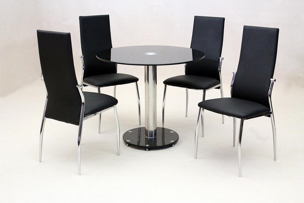100% Oak Alonza Black Dining Set 4 Chairs