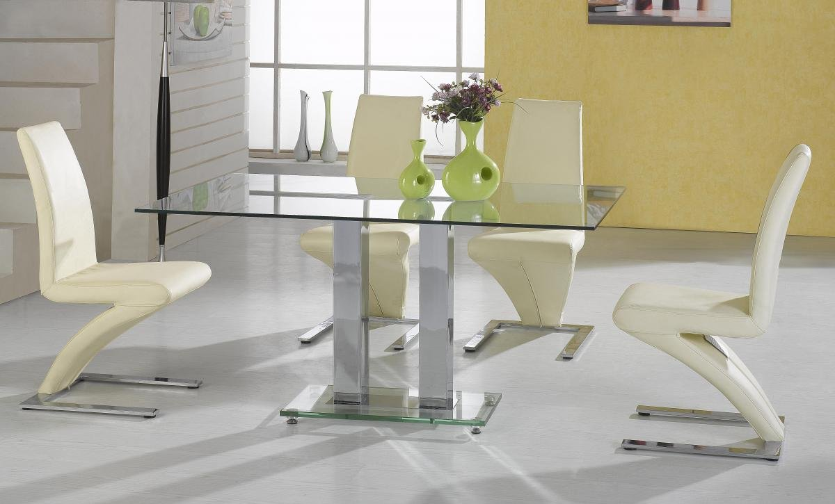 100% Oak Ankara Large Dining Set Chrome 4 Ankara Chairs