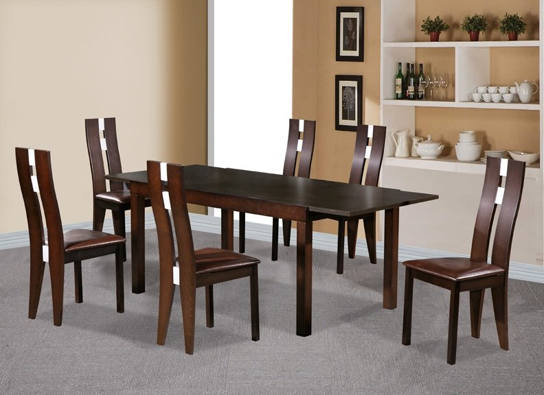 100% Oak Baltic Dining Set with 6 Solid Beech Chairs Dark Walnut