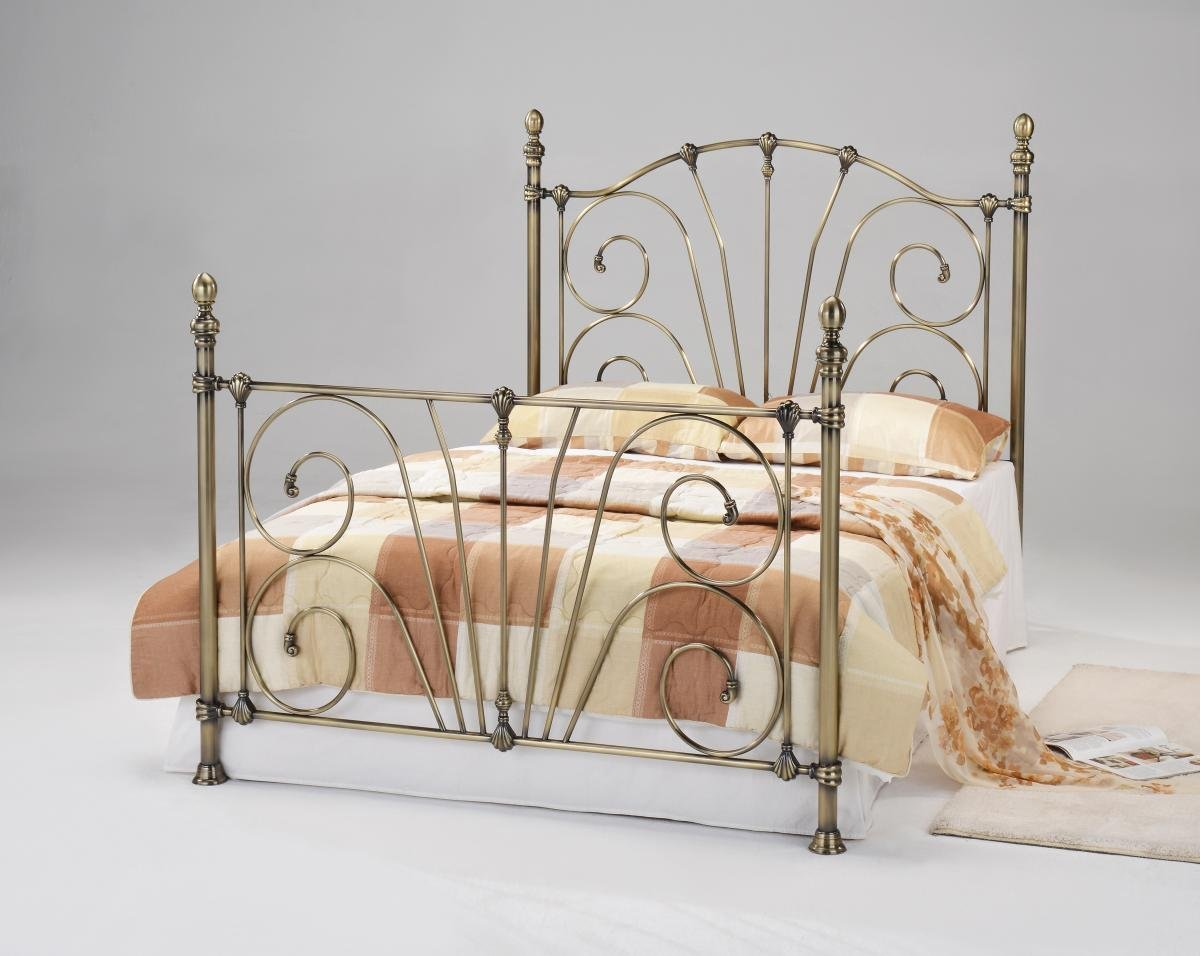Amazing Beatrice Antique Brass King Size Bed Online