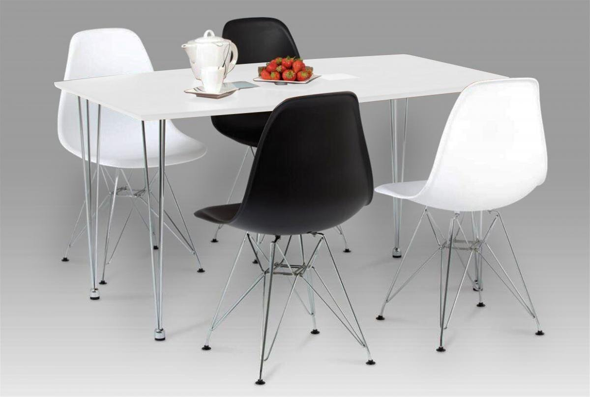100% Oak Bianca Dining Table White High Gloss with Steel Chrome Legs