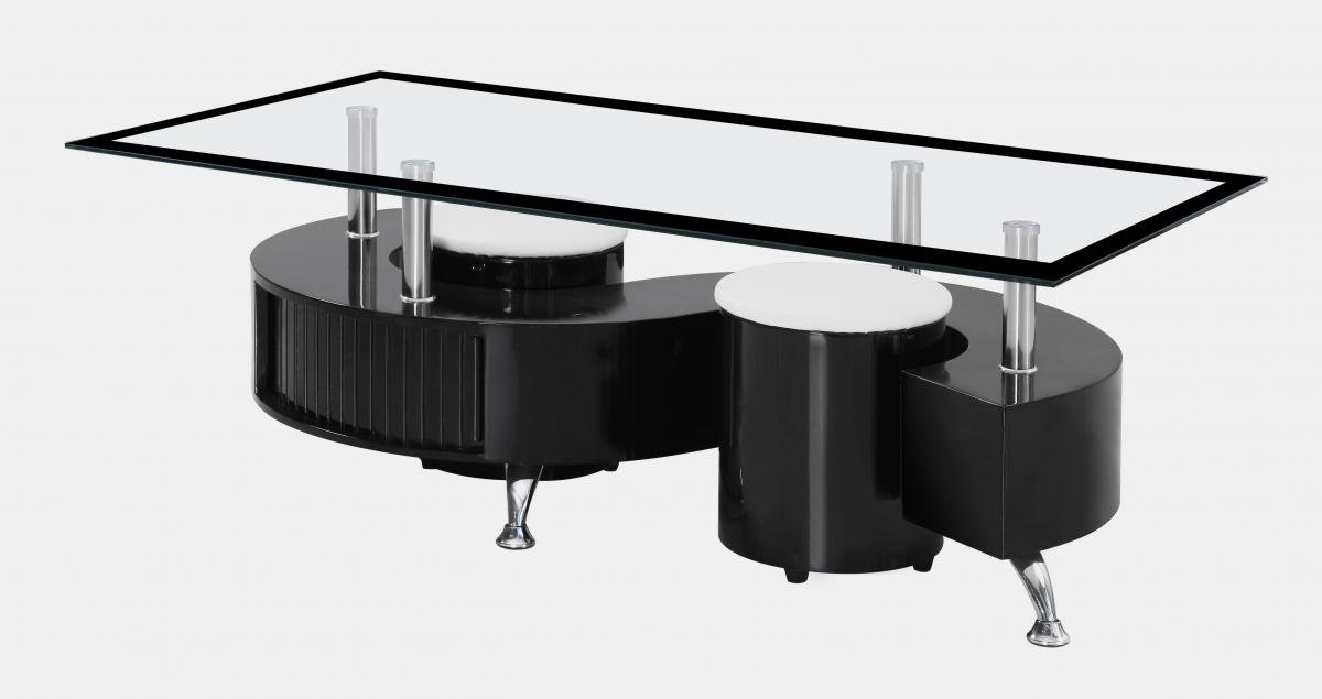Get FREE Shipping On Exclusive Boule Black High Gloss Coffee Table with Black Border Glass