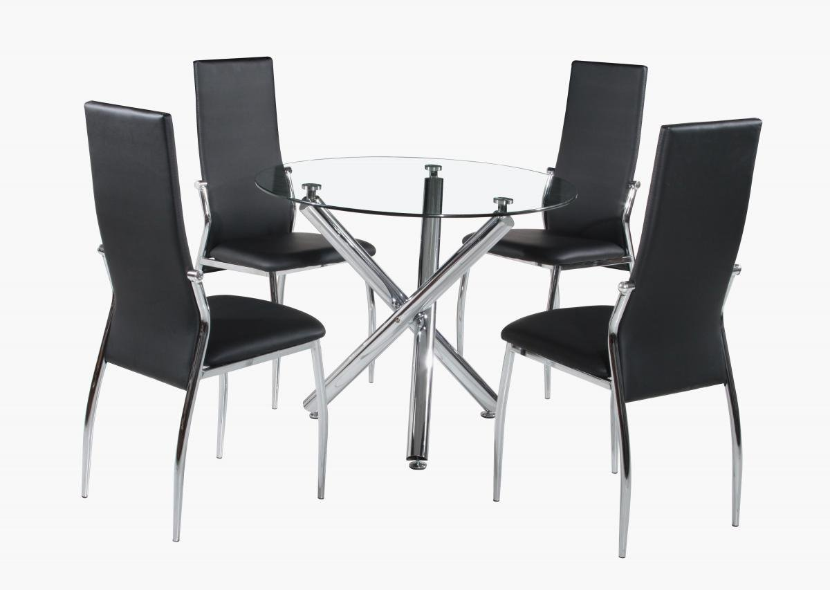 100% Oak Calder Dining Set Chrome & Clear Glass 4 Chairs