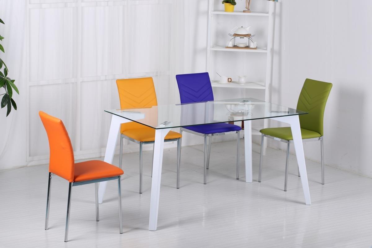 Carina Glass Dining Set High Gloss White | Stylish Dining Set