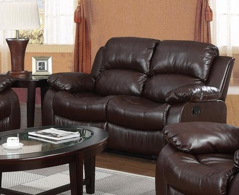 Great Discount on Carlino Recliner Full Bonded Leather 2 Seater Brown | Oak Furniture Online