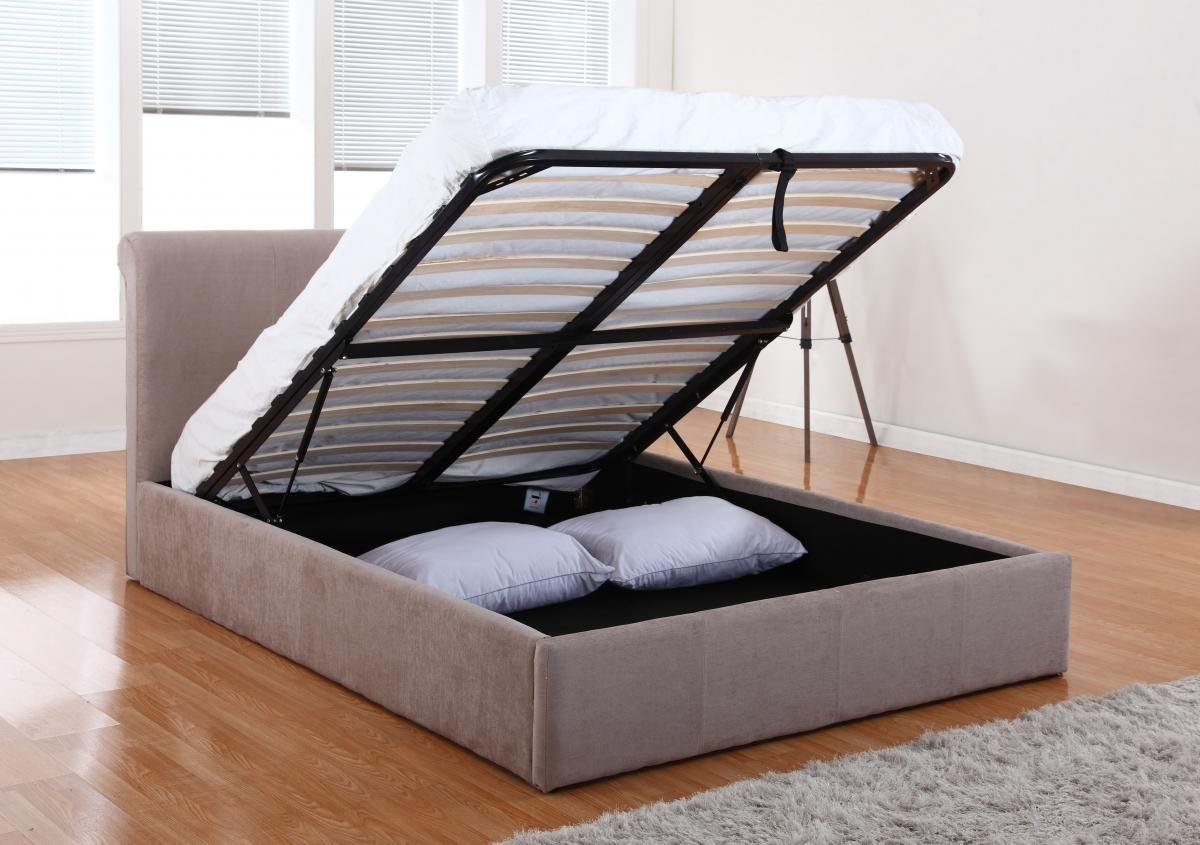 Get These Amazing Carrie Storage Chenille Double Bed Mink Online