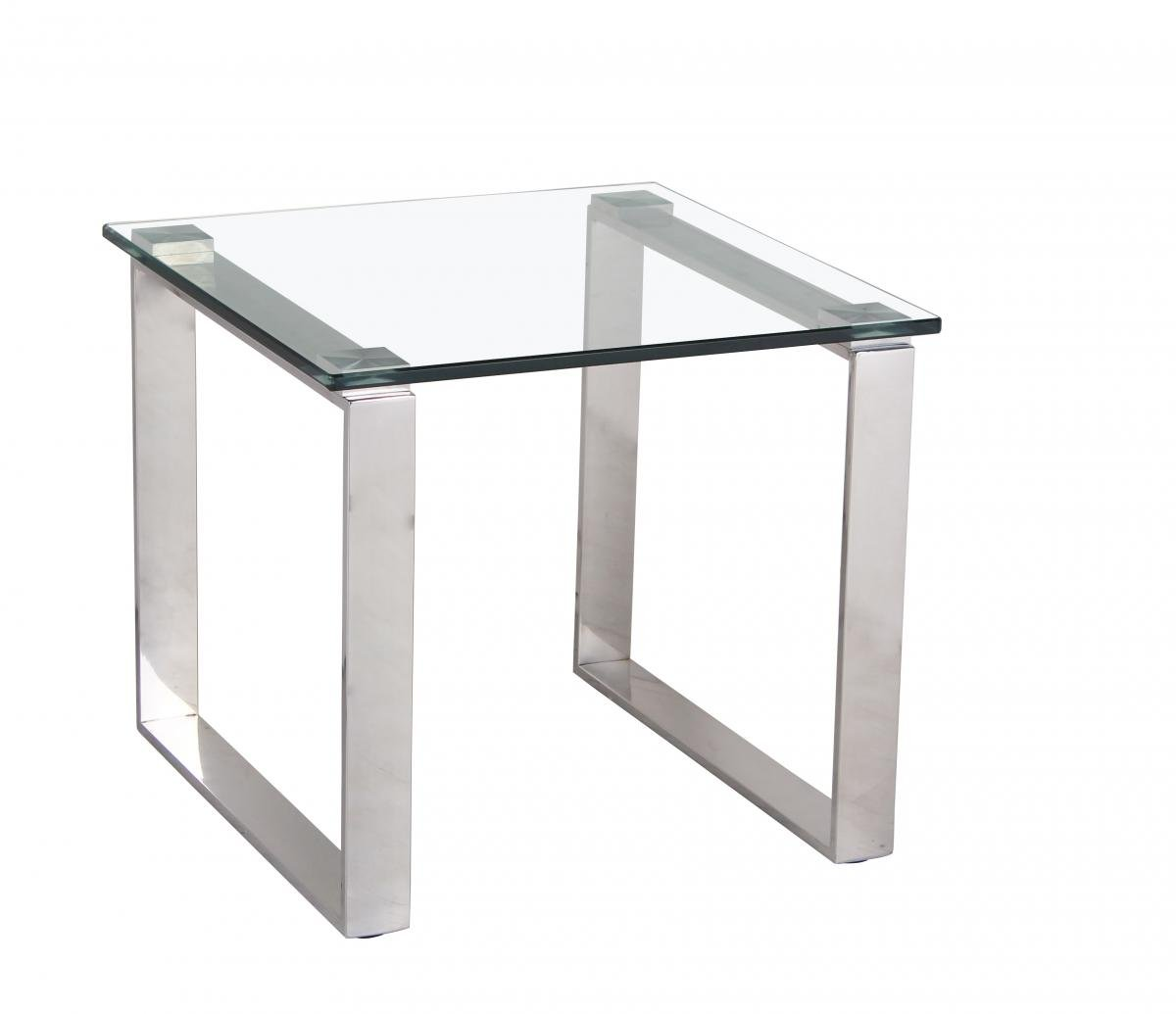 Best price online on Carter Glass Lamp Table with Stainless Steel Legs | Furniture Villa