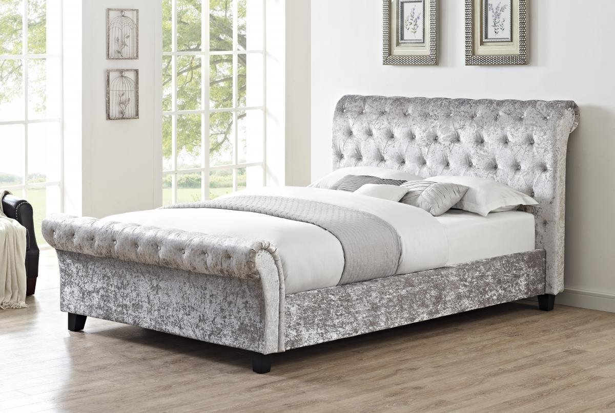 Amazing Casablanca HFE Crushed Velvet Double Bed Grey Online