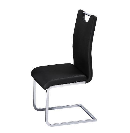 100% Oak Caspian PU Chair Chrome & Black