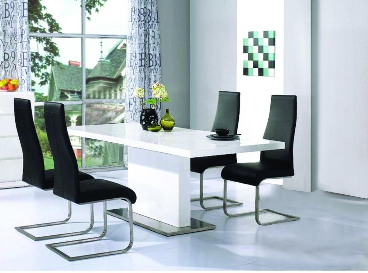 Modern Chaffee Dining Set White High Gloss 4 Chairs
