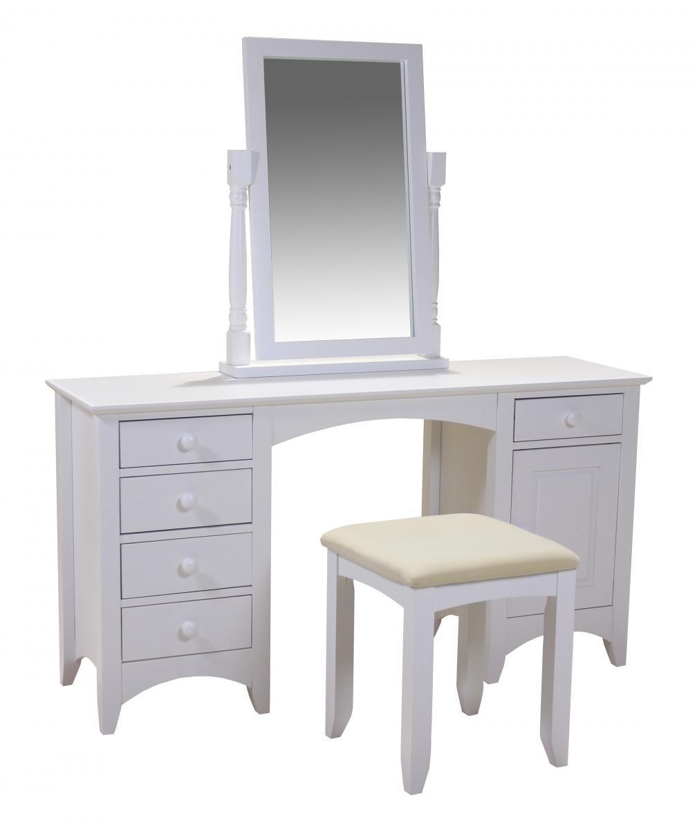 100% Oak Chelsea White Dressing Table