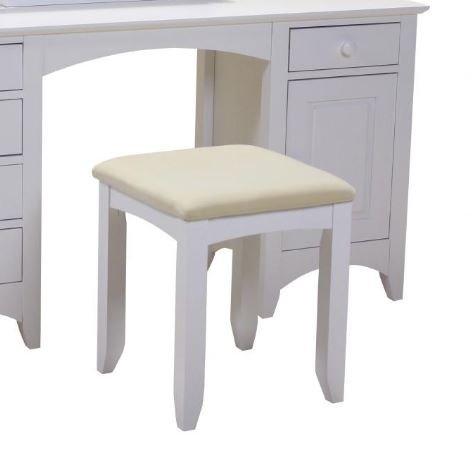 Designer Chelsea White Dressing Table Stool | Modern & Retro Bar Stools | Online Furniture UK