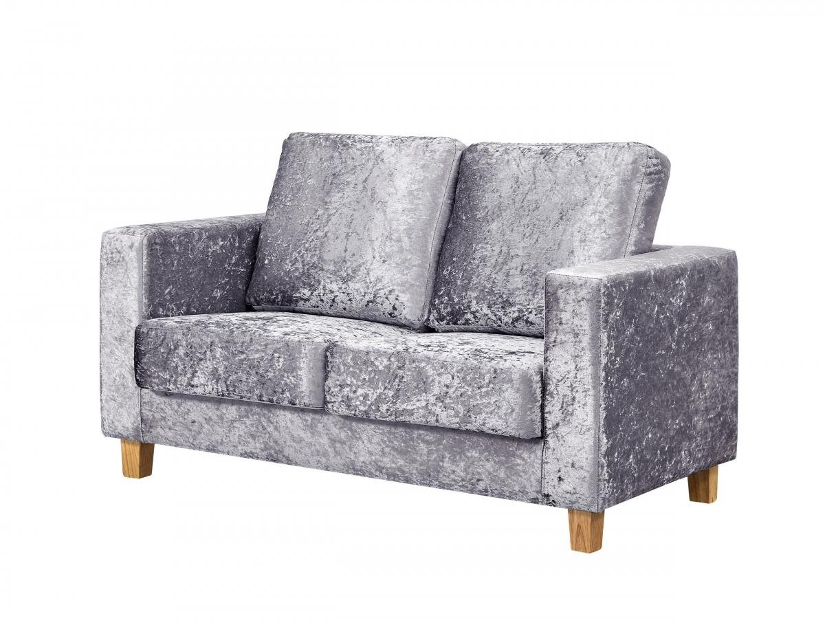 Great Discount on Chesterfield 2 Seater Sofa Crushed Velvet Silver | Oak Furniture Online