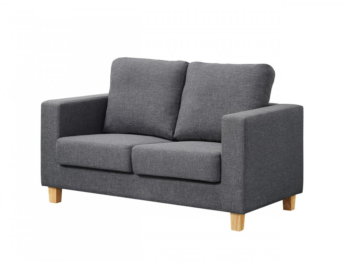 Great Discount on Chesterfield 2 Seater Sofa Linen Fabric Dark Grey | Oak Furniture Online