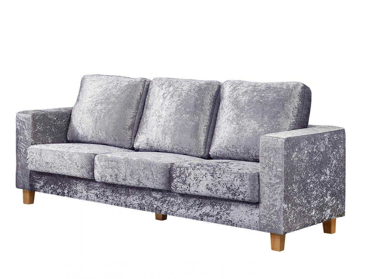 Great Discount on Chesterfield 3 Seater Sofa Crushed Velvet Silver | Oak Furniture Online