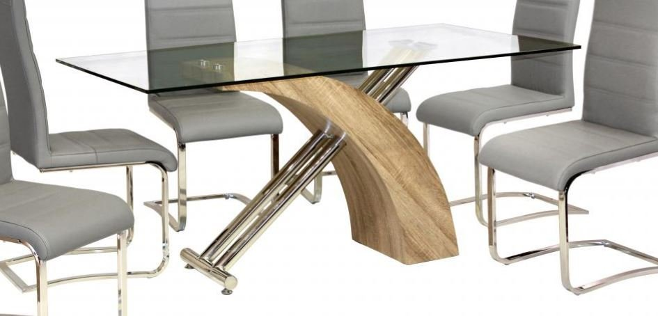 100% Oak Chiswell Dining Table Chrome & Natural