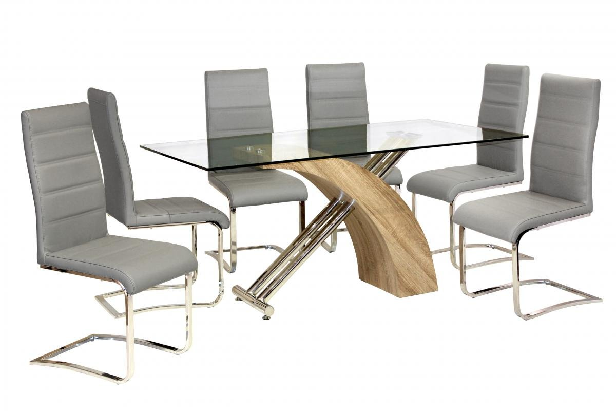 Chiswell Dining Set Chrome & Natural 6 Chairs