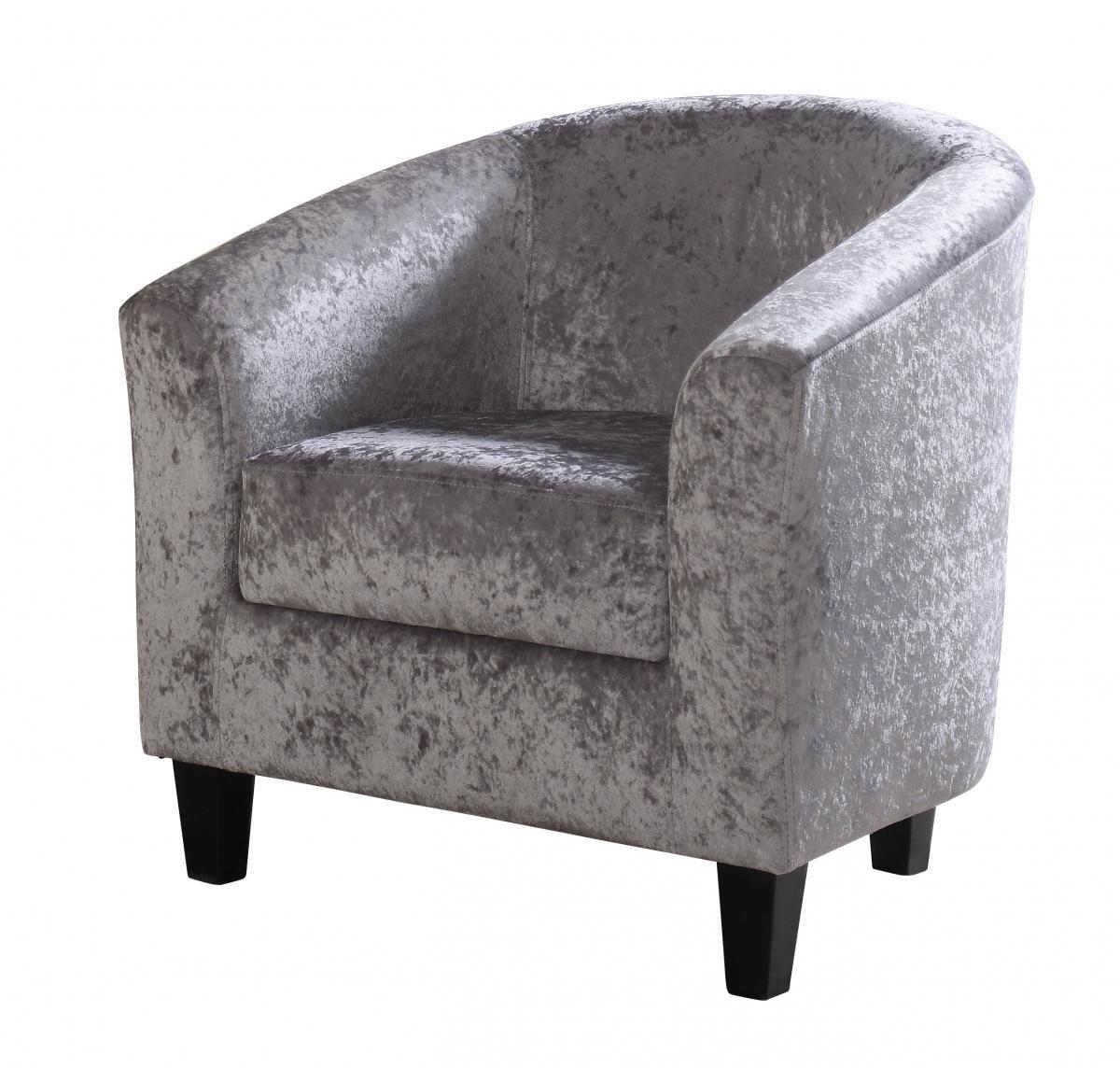 Great Discount on Claridon 1 Seater Sofa Crushed Velvet Silver | Oak Furniture Online