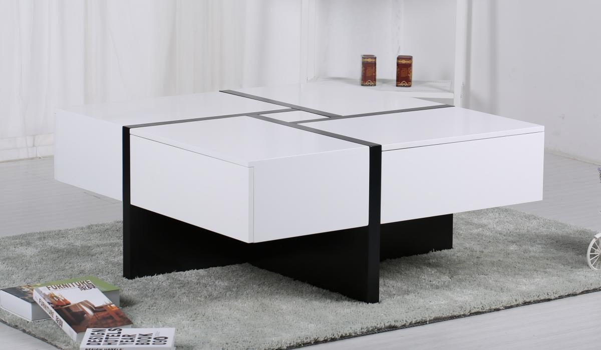Get FREE Shipping On Exclusive Colette Coffee Table with 4 Drawers White & Black