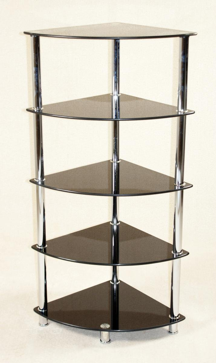 Cologne Black Corner Unit 5 Shelves | Oak Furniture Online